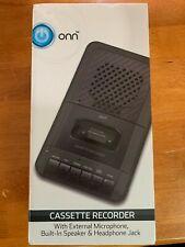ONN Cassette Player Recorder Built In Speaker External Microphone Blank Cassette