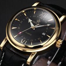 ORKINA Luxury Mens Date Indicator Gold Case Leather Quartz Wrist Watch +Bookmark
