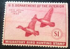 USA 1943 $1.00 Red Duck Stamp Mint Hinged