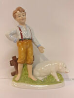 9942937-ds Porcelain Figurine Boy With Bill Wagner&Apel Thuringia H22cm