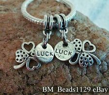 2PC Four Leaf Clover Good Luck Double Pendant European Dangle Beads Charms