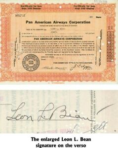 A Pan American Airways Corporation Stock Issued To And Signed By L.L. Bean
