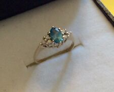 Beautiful Ladies Full Hallmarked 9ct Gold Blue Topaz & Diamond Ring Superb - J
