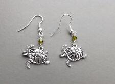 Turtle tortoise charm drop earrings .. green crystal silver tone cute jewelry