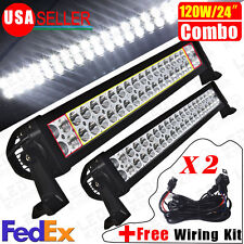 "2X 120W 24"" Spot Flood Combo LED Light Bar Fog Driving DRL Off Road SUV Car Boat"