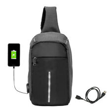 Anti-theft Backpack Laptop Sport Unisex Travel Haking Oxford Bags USB Charger 04 Black