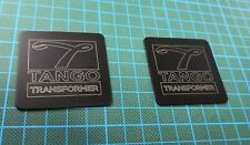 Laser engraved high-grade aluminum labels for Tango Transformers.