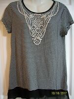 Style & Co Petite Women's Black and White Top Size L