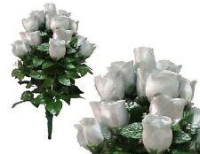 "Lot of 144 Silver Lg Rosebud 24"" Tall Bush Wedding Home Decor Artificial Flower"