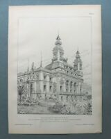 AR85) Architektur Monte Carlo Monaco 1885 Casino Theater Fassade Holzstich 28x39