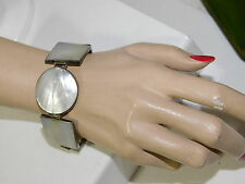 """White Mother of Pearl MOP Circle Square Shell silver 7""""/8"""" Bracelet 7k 54"""