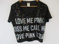 VICTORIA SECRET PINK Fashion Show Crop Black Silver Full Bling Sequin Top Medium