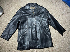 LEATHER LIMITED SOFT LAMBS LEATHER BLACK MENS CAFE JACKET COAT SZ M BUTTON DOWN