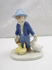Vintage Lippelsdorf GDR Porcelain Figurine Boy Feeding Ducks
