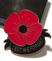Red Poppy Enamel Remembrance Pin Brooch Lest We Forget WWII Veteran Memorial Day