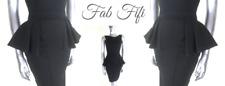 Fabulous Dolls Bodycon Peplum Dress Black Sleeveless Mini Cocktail Party Sz 8 10