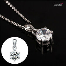 925 Sterling Silver Necklace Diamante Solitaire Clear 7mm CZ Pendant Bridal Gift