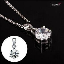 Collar de plata esterlina 925 Colgante solitario CZ TRANSPARENTES 7 mm Diamante Nupcial Regalo