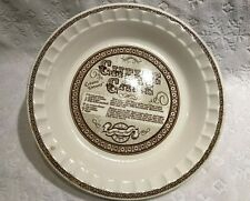 Vintage-Retro Royal China Jeannette; Cheese Cake Recipe Pie Plate ~11-IN