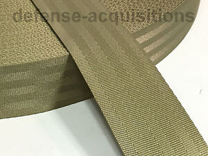 2 Inch 7 Panel 7 Bar Seat Belt MilSpec Military Seatbelt Webbing KHAKI/TAN YARD