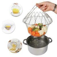 Faltbarer Edelstahl Frittierkorb Gemüse Kochkorb Sieb Küche Werkzeuge Gut 6T3d