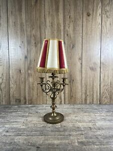 Large Vintage Heavy Brass French Brass Bouillotte Style Three Branch Table Lamp.