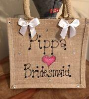 Personalised Wedding Party Bride Bridesmaid Flower Girl MOB Gitter Jute Bag