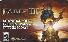 DLC Fable 3 EXCLUSIVE IN-GAME TATTOO Code Card Microsoft Xbox 360 Live