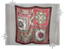 Foulard Fantaisie Marron Rouge Blanc ... Ted Lapidus  74 x 74 cm