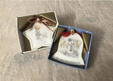 2 Vintage Porcelain Precious Moments Ornaments, Made In Japan, 1980s, Star, Bell
