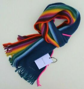PAUL SMITH DOCTOR WHO striped scarf wool Artist Stripe blue teal DR rainbow