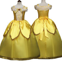 Girl Princess Dress Beauty and The Beast Belle Cosplay Costume Kids Clothes US