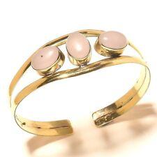 Rose Quartz Bangel Cuff Bracelet Tibetan Silver Brass Gemstone Elegent Jewelry