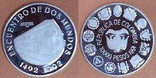 COLOMBIA 10.000 Pesos. Plata 1991 Encuentro Dos Mundos. 1ª SERIE IBEROAMERICANA.
