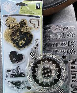 Inkadinkado Tattoo Hearts Acrylic Stamps Love Key Wings Sword Swirls Floral + 2