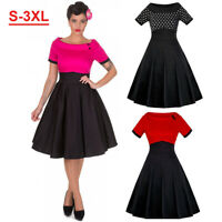 S-3XL Women 50s 60s Swing Vintage Housewife Pinup Rockabilly Evening Party Dress