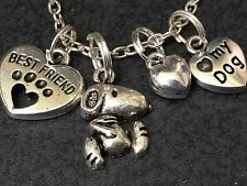 "Dog Beagle Mix Charm Tibetan Silver with 18"" Necklace"