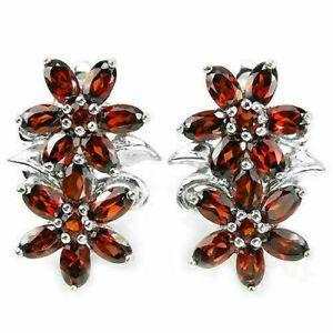 Earrings Red Garnet Genuine Natural Gems Solid Sterling Silver Flower Design