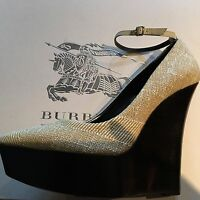 BURBERRY Womens Ladies Cream Heels Shoes Wedge Court PRORSUM Size 40 7 £475 New