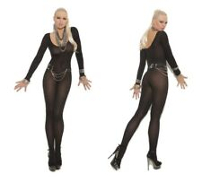 Crotchless OPAQUE LONG SLEEVE Bodystocking O/S & PLUS