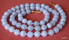 Natural Blue Lace Agate Necklace 8mm Beads Grade A 8 mm BlueLace Various Lengths