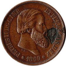 1869 Brazil 20 Reis Coin Lamination Error KM#474