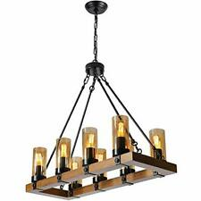 FANSHILAN Retro Wood Table Chandeliers Candle Style Industrial 8 Lights Ceiling