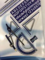 Pencil Compass Alphabet Stencil Degree Square Divider Ruler Protractor Math Set