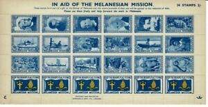 Melanesian Mission 1920's period Cinderella stamps in sheetlet of 24, MUH