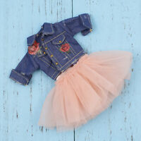 Skirt Jeans Jacket for 1/6 BJD DOD Dollfie 12inch Blythe Pullip Doll Outfit