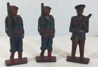 Vintage Antique Diecast Lead Toy Soldier Sailor Military - set of 3 - lot # 702