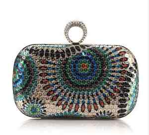 Peacock Grains Style Circle Sequins Evening Clutch Bag Style : 3#