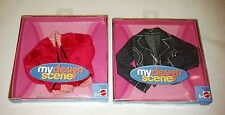 NIB 2 Barbie My Design Scene Denim & Pink Fur Jackets - Boxes are Blemished
