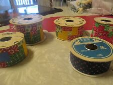 Large Lot of 5 Vintage Florist/ Crafting Patchwork Calico Ribbon Spools